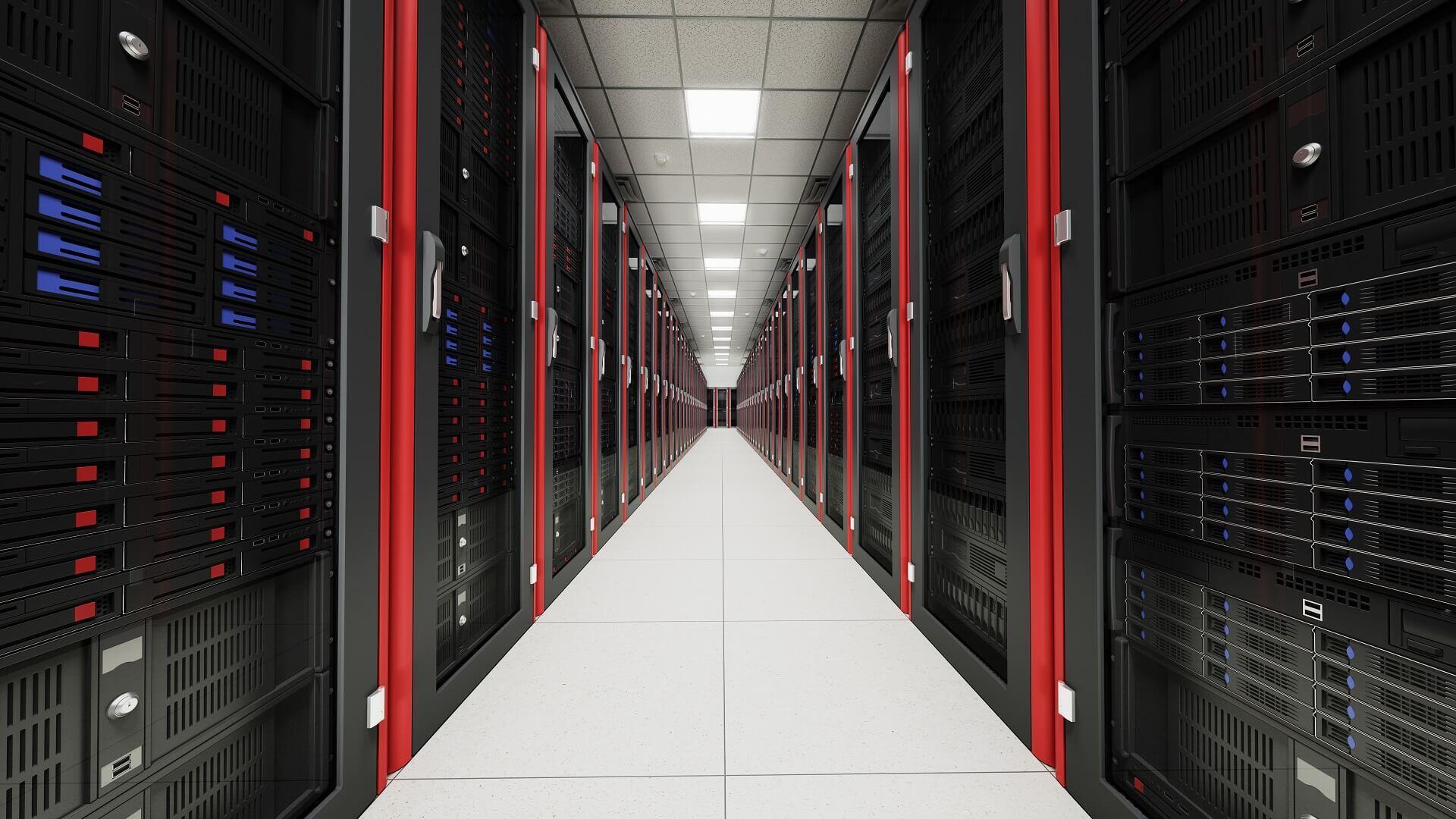 Serverraum in Rot.