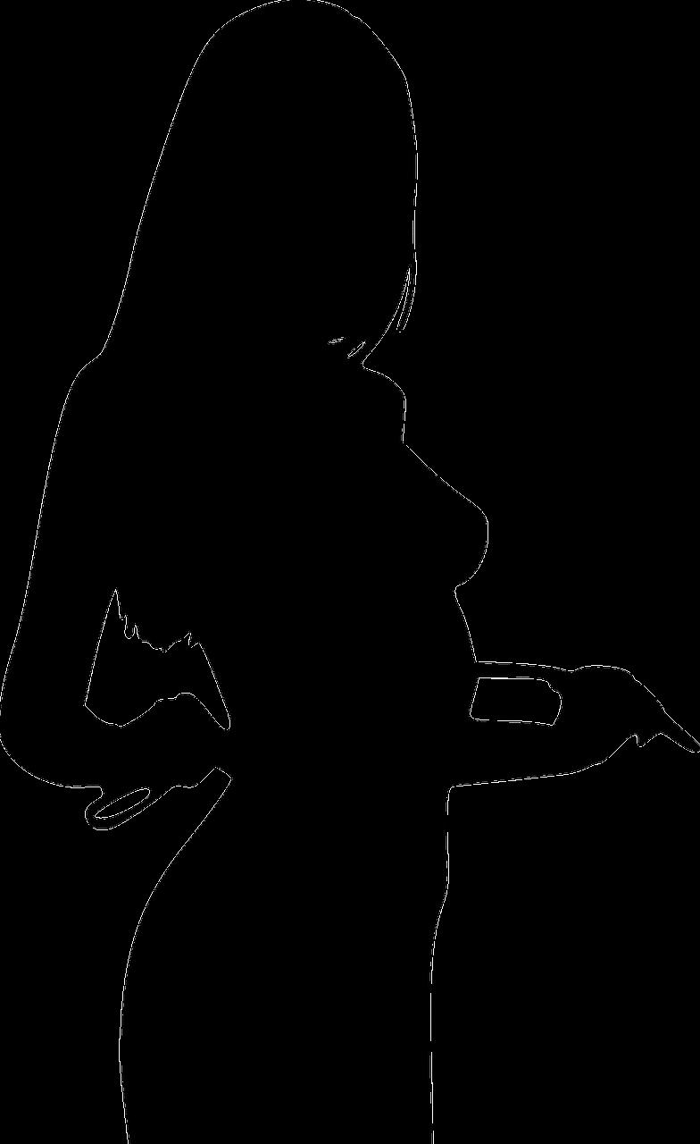 Silhouette einer Frau mit Peitsche.